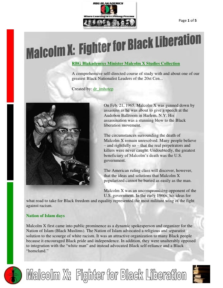 Page 1 of 5                         RBG Blakademics Minister Malcolm X Studies Collection                         A compre...