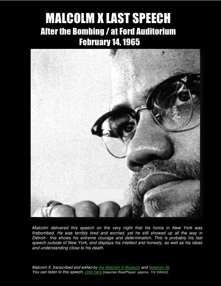 MALCOLM X LAST SPEECH                                                      Page 1 of 21        After the Bombing / at Ford...
