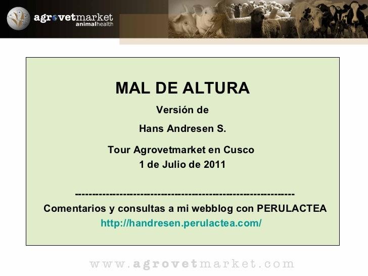 MAL DE ALTURA Versión de Hans Andresen S. Tour Agrovetmarket en Cusco  1 de Julio de 2011 --------------------------------...