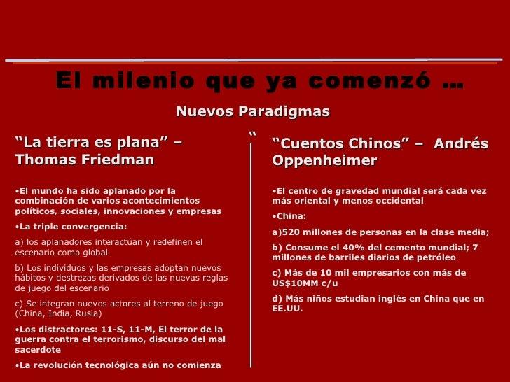 """El milenio que ya comenzó … Nuevos Paradigmas """" """" La tierra es plana"""" – Thomas Friedman """" Cuentos Chinos"""" –  Andrés Oppenh..."""
