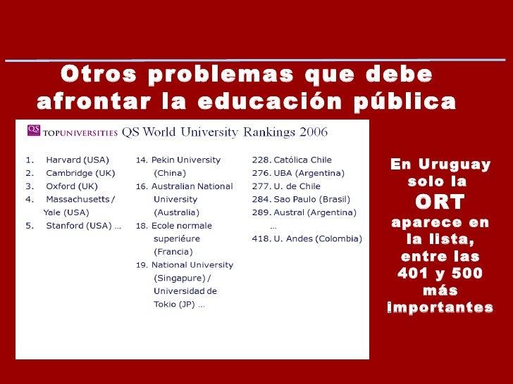 Otros problemas que debe afrontar la educación pública uruguaya … En Uruguay solo la  ORT aparece en la lista, entre las 4...