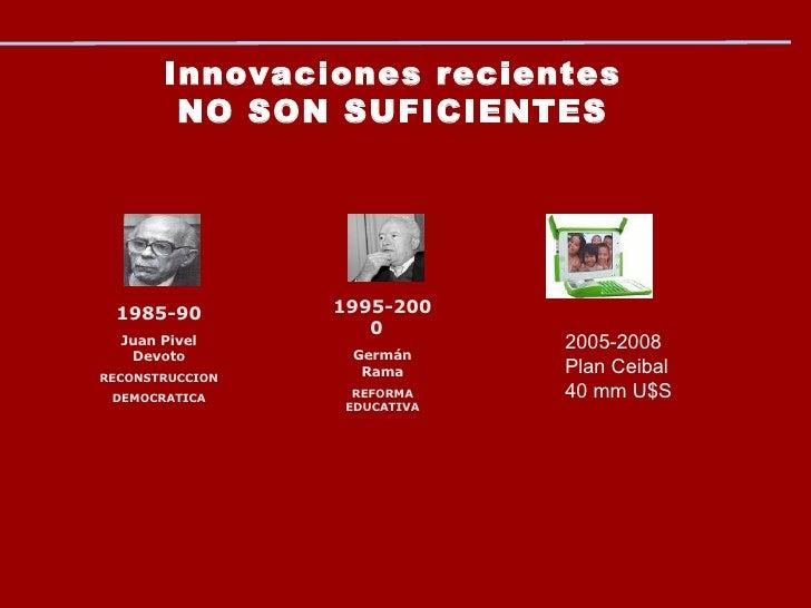 Innovaciones recientes NO SON SUFICIENTES 1985-90 Juan Pivel Devoto RECONSTRUCCION DEMOCRATICA 1995-2000  Germán Rama REFO...