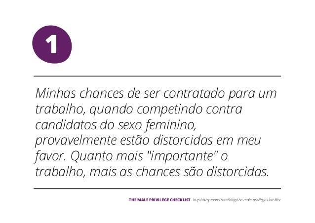 The Male Privilege Checklist, em Português Slide 2