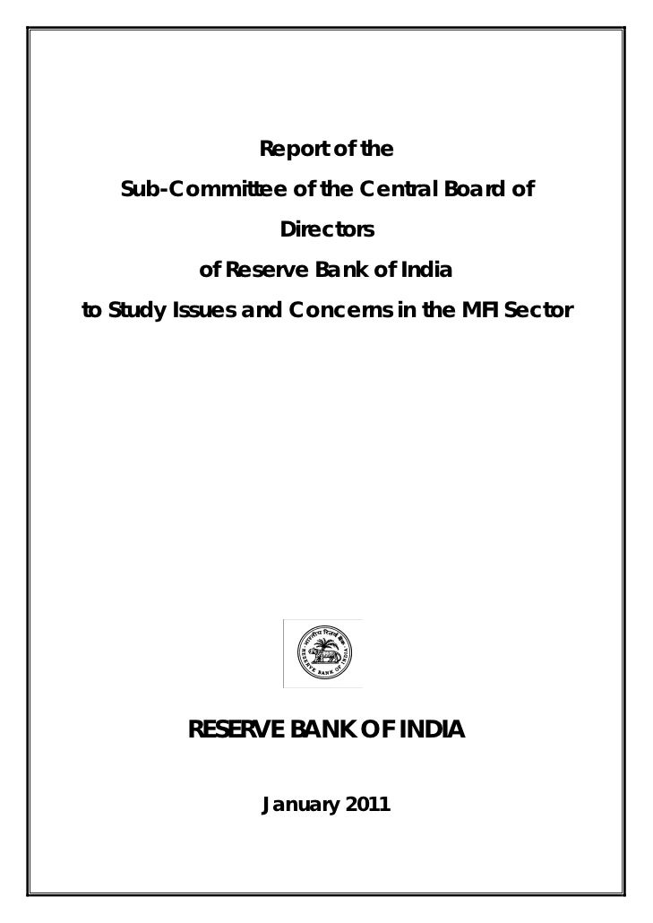 Report of the   Sub-Committee of the Central Board of                  Directors           of Reserve Bank of Indiato Stud...