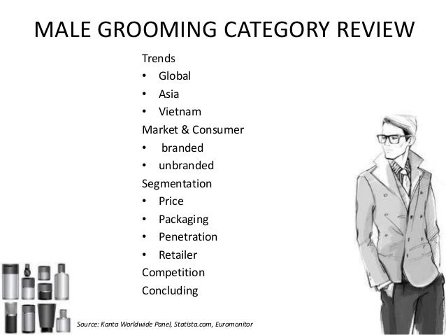 MALE GROOMING CATEGORY REVIEW Trends • Global • Asia • Vietnam Market & Consumer • branded • unbranded Segmentation • Pric...