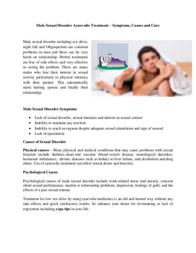 Male Sexual Disorder Ayurvedic Treatment – Symptoms, Causes and Cure Male sexual disorder including sex drive, night fall ...