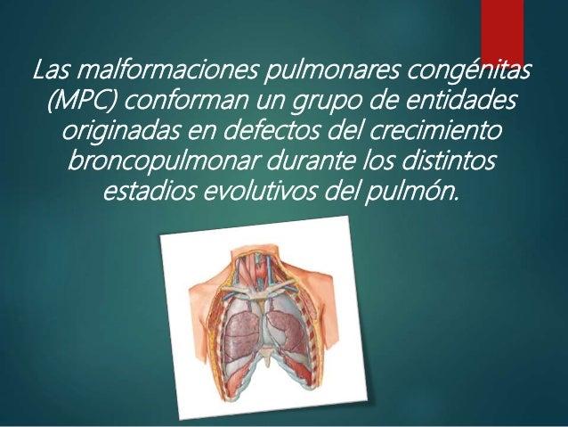 Las malformaciones pulmonares congénitas (MPC) conforman un grupo de entidades originadas en defectos del crecimiento bron...