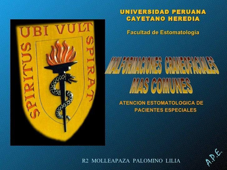 ATENCION ESTOMATOLOGICA DE PACIENTES ESPECIALES MALFORMACIONES  CRANEOFACIALES UNIVERSIDAD PERUANA CAYETANO HEREDIA Facult...