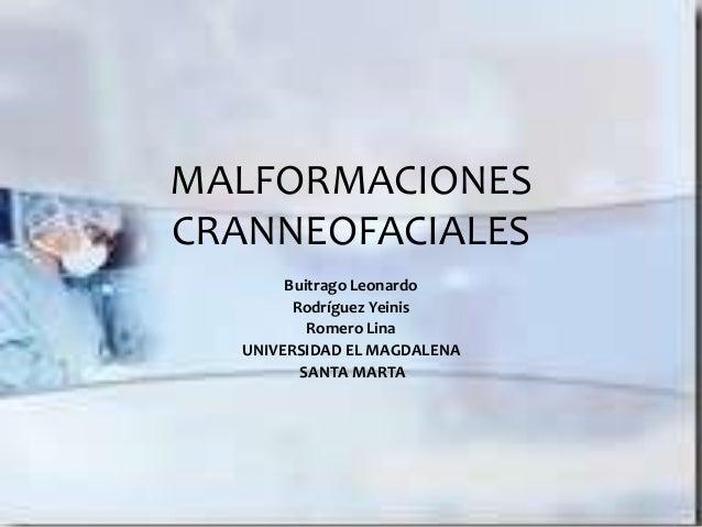MALFORMACIONESCRANNEOFACIALESBuitrago LeonardoRodríguez YeinisRomero LinaUNIVERSIDAD EL MAGDALENASANTA MARTA