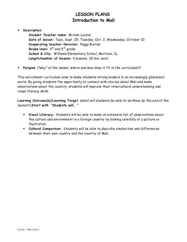 LESSON PLANS                                     Introduction to Mali•    Description        Student Teacher name: Miriam ...