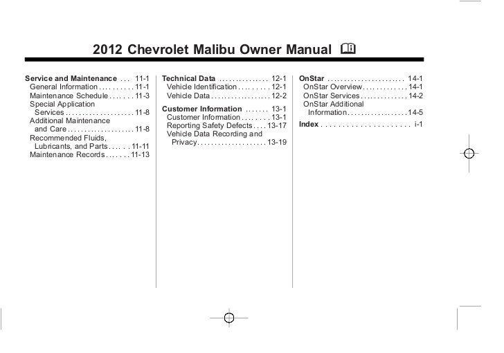 chevy malibu 2012 manual