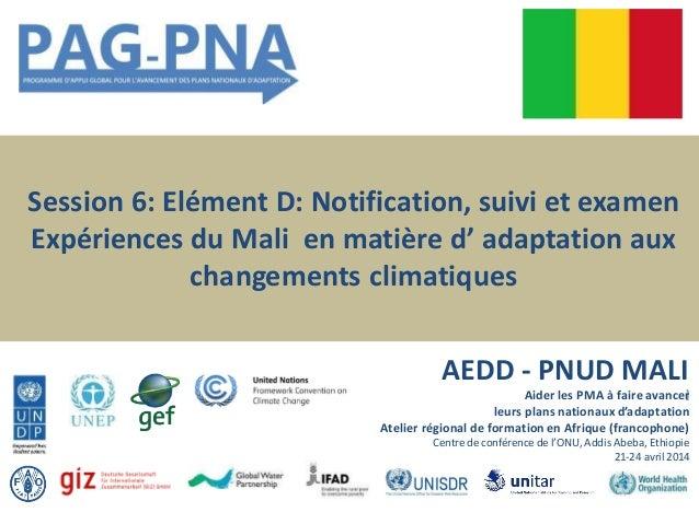 Session 6: Elément D: Notification, suivi et examen Expériences du Mali en matière d' adaptation aux changements climatiqu...