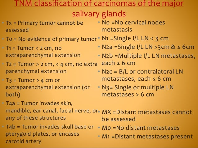 TNM classification of carcinomas of the major salivary glands • Tx = Primary tumor cannot be assessed • T0 = No evidence o...