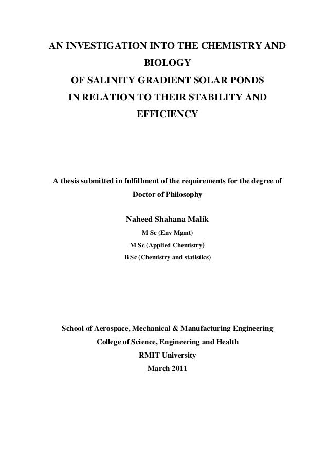 AN INVESTIGATION INTO THE CHEMISTRY AND                             BIOLOGY     OF SALINITY GRADIENT SOLAR PONDS    IN REL...