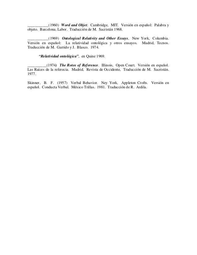 """Course Notes – W.V.O. Quine, """"Ontological Relativity"""""""