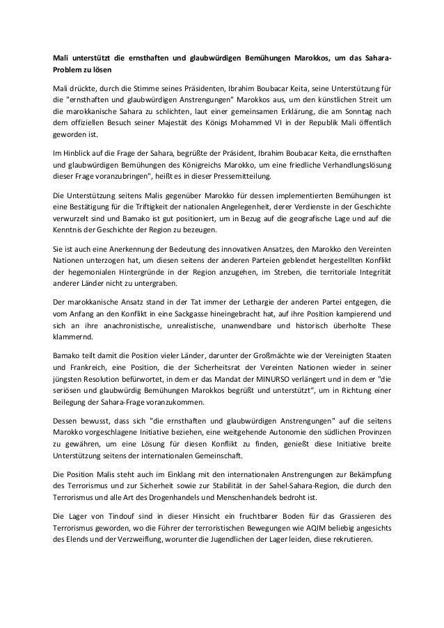 Mali unterstützt die ernsthaften und glaubwürdigen Bemühungen Marokkos, um das SaharaProblem zu lösen Mali drückte, durch ...