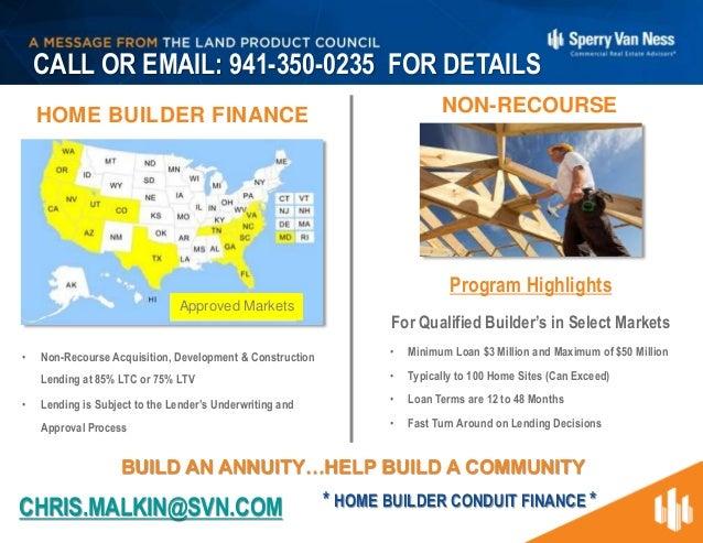 Non-Recourse Home Builder Finance