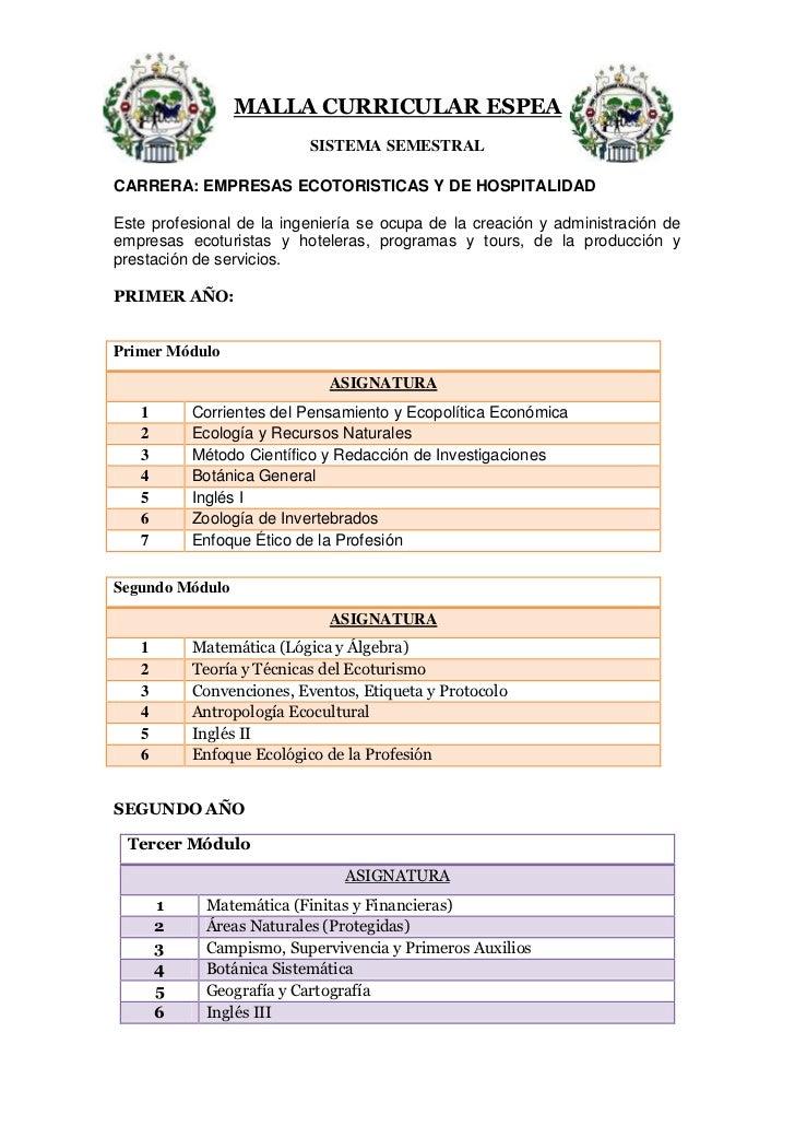 4339590-290195-99060-404494MALLA CURRICULAR ESPEA<br />SISTEMA SEMESTRAL<br />CARRERA: EMPRESAS ECOTORISTICAS Y DE HOSPITA...