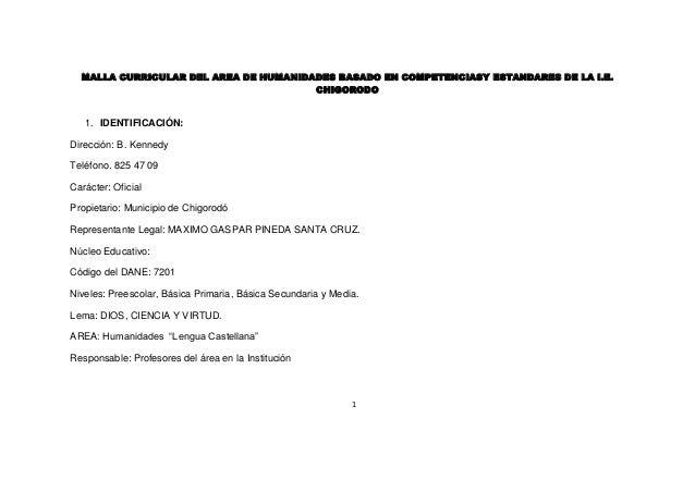 MALLA CURRICULAR DEL AREA DE HUMANIDADES BASADO EN COMPETENCIASY ESTANDARES DE LA I.E.                                    ...