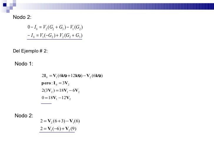 Nodo 2:       0 − I b = V2 (G2 + G3 ) − V1 (G2 )       − I b = V1 (− G2 ) + V2 (G2 + G3 )  Del Ejemplo # 2:  Nodo 1:      ...