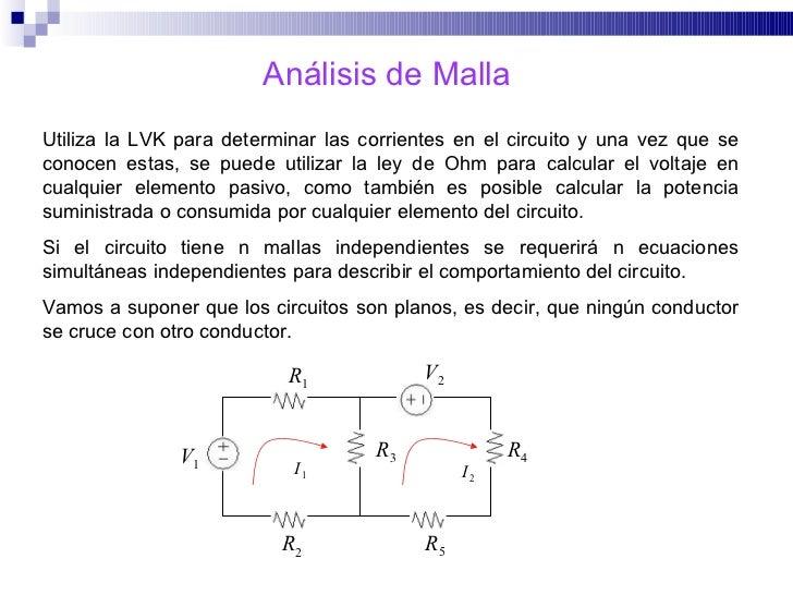 Análisis de Malla Utiliza la LVK para determinar las corrientes en el circuito y una vez que se conocen estas, se puede ut...