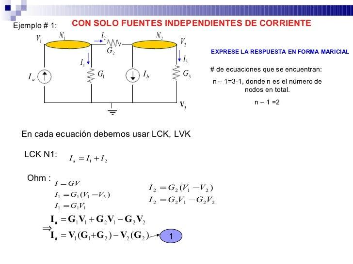 CON SOLO FUENTES INDEPENDIENTES DE CORRIENTE Ejemplo # 1:                   N1       I2        N2          V1             ...