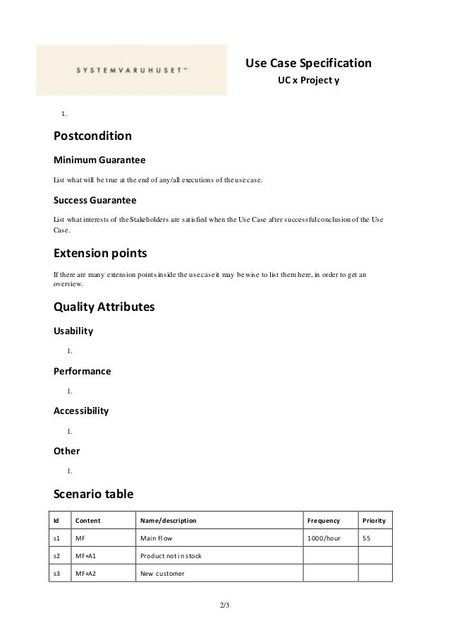 Template For Writing Use Case Specifications