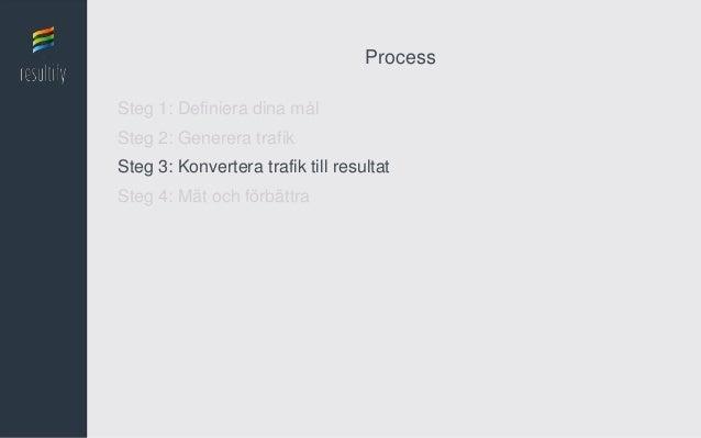 ProcessSteg 1: Definiera dina målSteg 2: Generera trafikSteg 3: Konvertera trafik till resultatSteg 4: Mät och förbättra