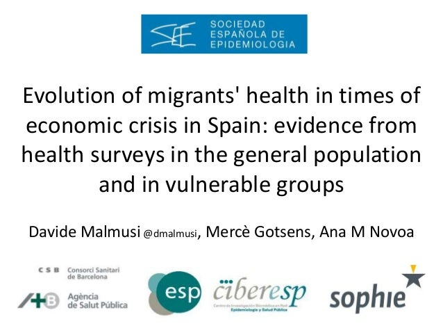 Evolution of migrants' health in times of economic crisis in Spain: evidence from health surveys in the general population...
