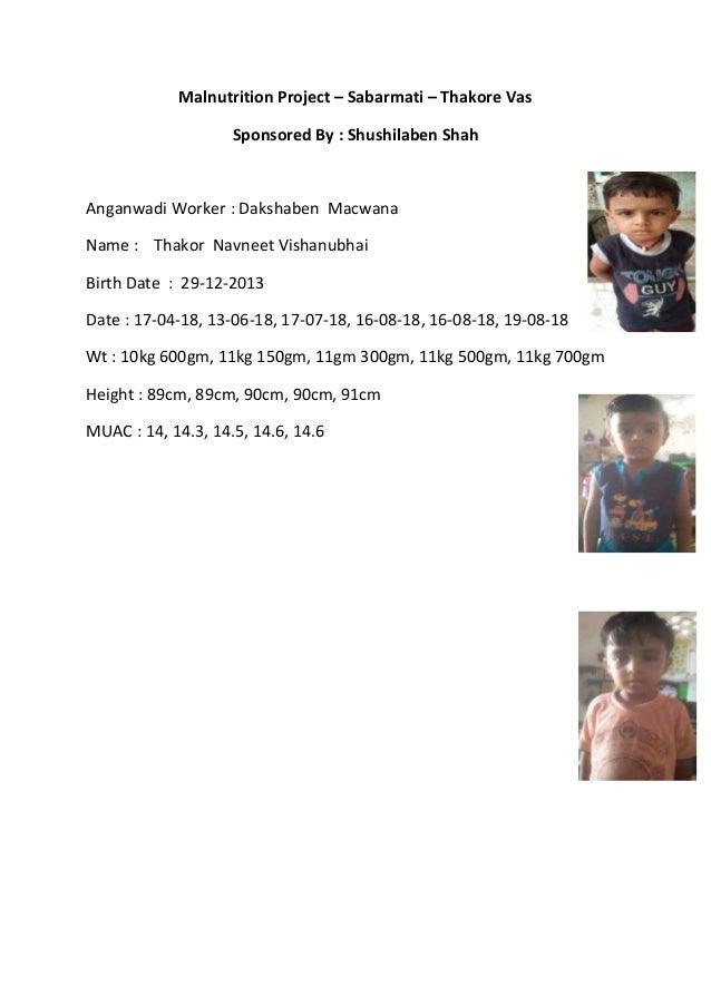 Malnutrition Project – Sabarmati – Thakore Vas Sponsored By : Shushilaben Shah Anganwadi Worker : Dakshaben Macwana Name :...