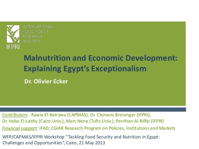 "Malnutrition and Economic Development:Explaining Egypt's ExceptionalismWFP/CAPMAS/IFPRI Workshop ""Tackling Food Security a..."
