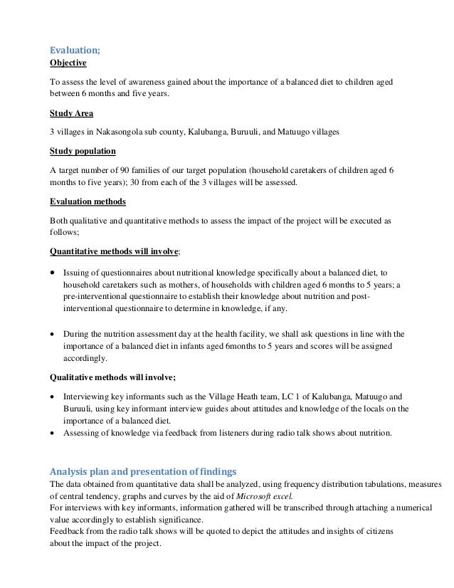 Malnutrition project proposal ( Increasing knowlege about importance …