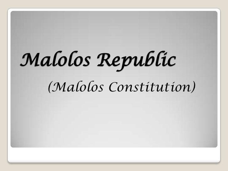 Malolos Republic  (Malolos Constitution)