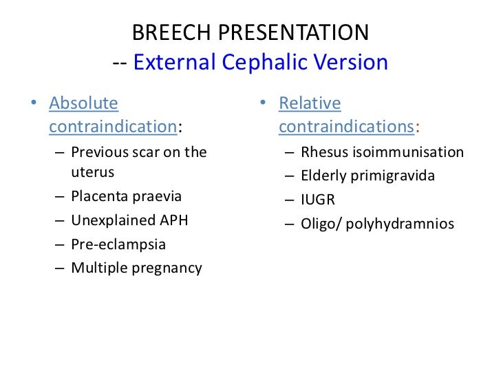 an analysis of the procedures of external cephalic version in pregnancy External cephalic version (ecv) at r 37 weeks' gestation in suitable women with  breech presentation was introduced  analysing a prospectively collected  database of women offered ecv at term  two post-procedure ctgs were  unreactive.