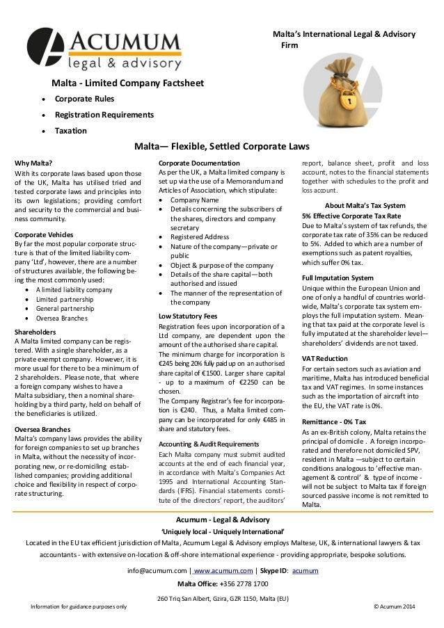 Malta's International Legal & Advisory Firm  Malta - Limited Company Factsheet   Corporate Rules    Registration Require...
