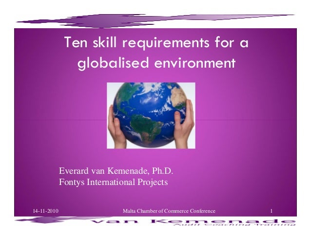 Ten skill requirements for a globalised environment Everard van Kemenade, Ph.D. Fontys International Projects 14-11-2010 1...