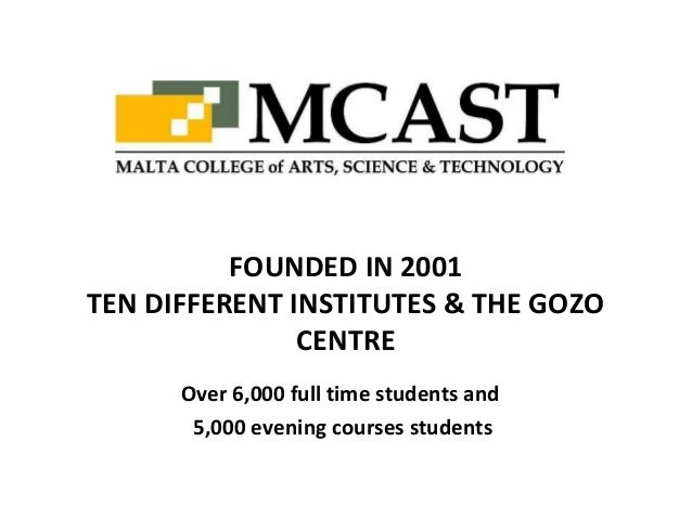 Over 6,000 full time students and5,000 evening courses studentsFOUNDED IN 2001TEN DIFFERENT INSTITUTES & THE GOZOCENTRE