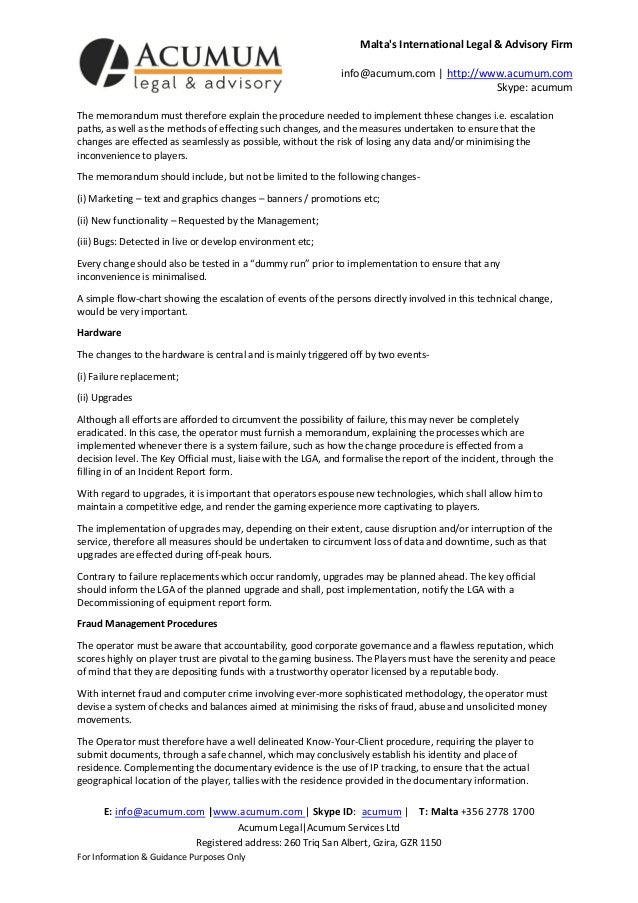 Malta Gaming Memo - Acumum Legal & Advisory