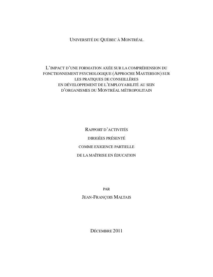 UNIVERSITÉ DU QUÉBEC À MONTRÉAL L'IMPACT D'UNE FORMATION AXÉE SUR LA COMPRÉHENSION DUFONCTIONNEMENT PSYCHOLOGIQUE (APPROCH...