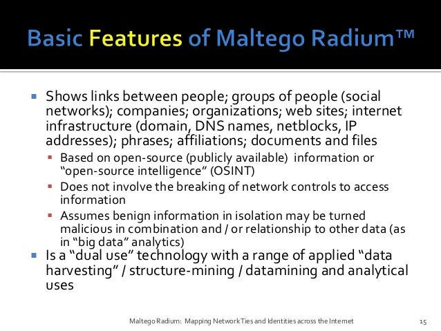 Maltego Radium Mapping Network Ties and Identities across