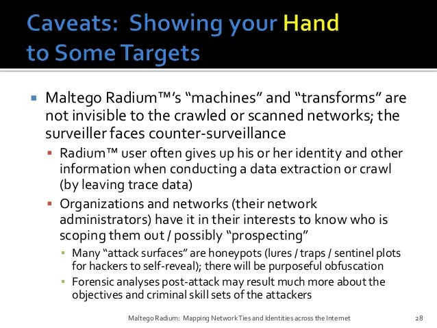 Maltego Radium Mapping Network Ties and Identities across the Internet