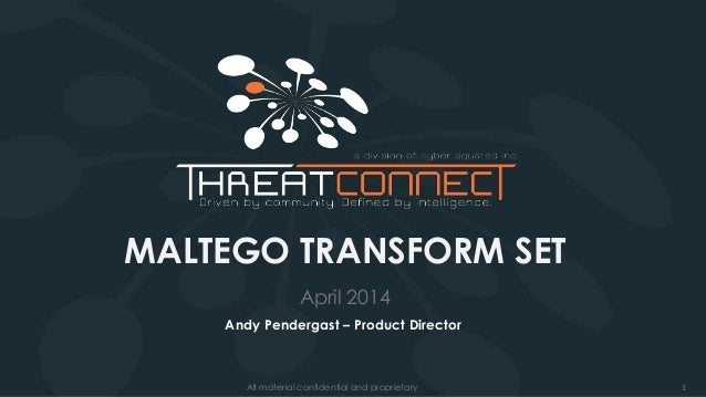 1All material confidential and proprietary MALTEGO TRANSFORM SET April 2014 Andy Pendergast – Product Director