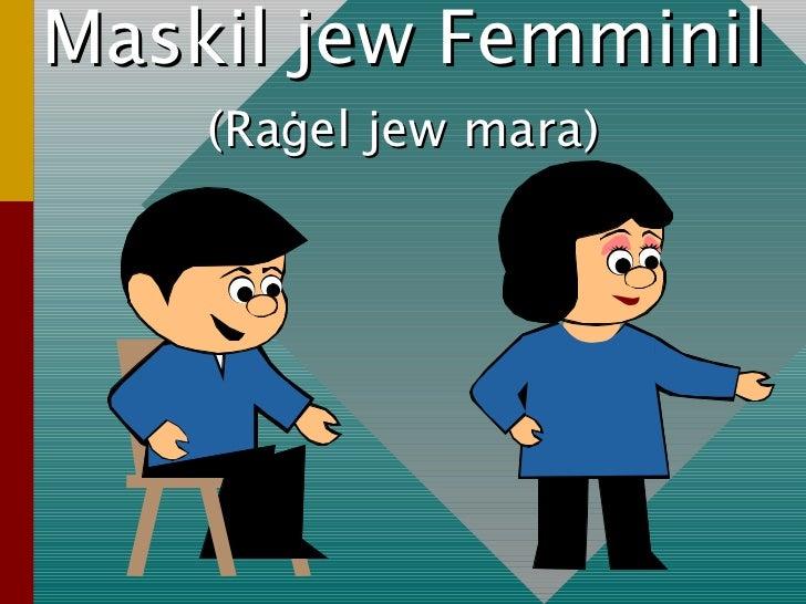 (Ra ġ el jew mara) Maskil jew Femminil
