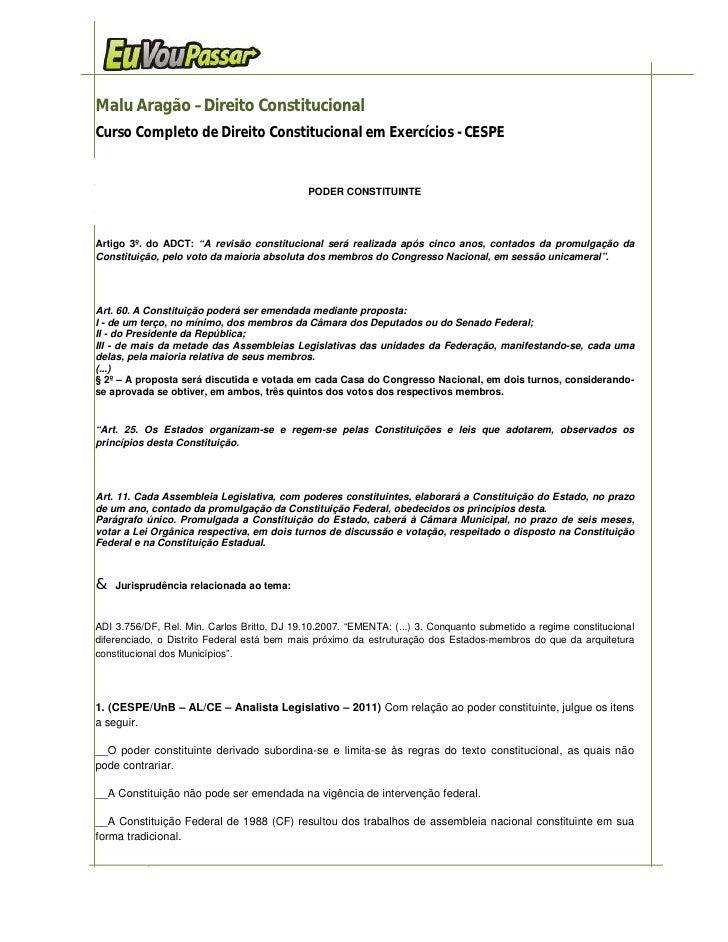 Malu Aragão –Direito ConstitucionalCurso Completo de Direito Constitucional em Exercícios - CESPE                         ...