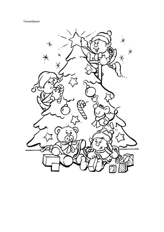 ausmalbilder weihnachten tannenbaum mit geschenken