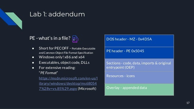 Lab 1: addendum PE - what's in a file? ● Short for PECOFF - Portable Executable and Common Object File Format Specificatio...