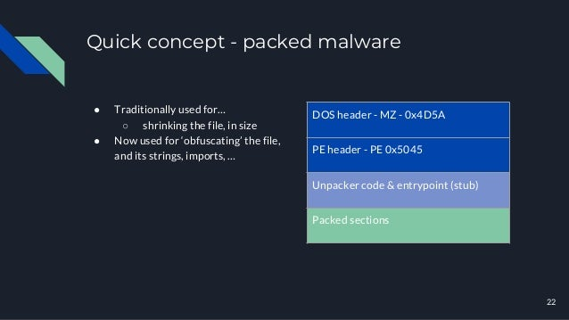 Quick concept - packed malware ● Traditionally used for… ○ shrinking the file, in size ● Now used for 'obfuscating' the fi...