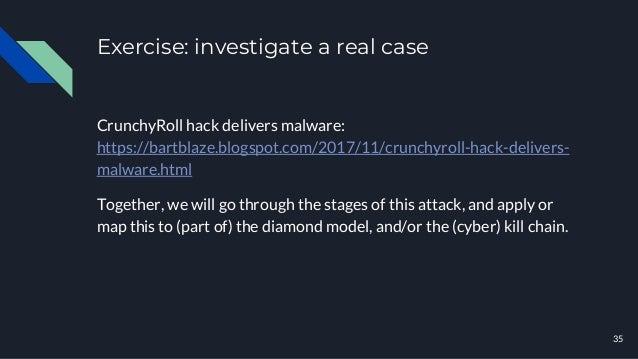 Exercise: investigate a real case 35 CrunchyRoll hack delivers malware: https://bartblaze.blogspot.com/2017/11/crunchyroll...