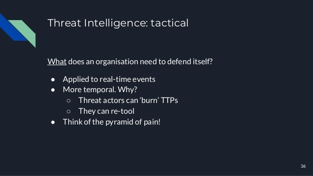 Threat Intelligence: tactical 36 What does an organisation need to defend itself? ● Applied to real-time events ● More tem...