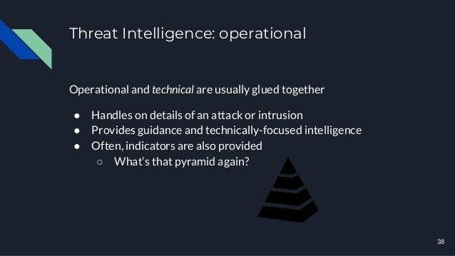 Threat Intelligence: operational 38 Operational and technical are usually glued together ● Handles on details of an attack...
